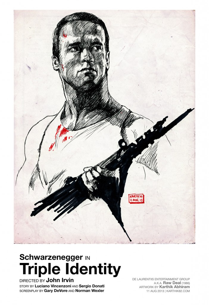 Arnold Schwarzenegger in Raw Deal - Drawing by Karthik Abhiram