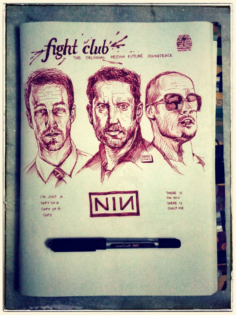 Nine Inch Nails - Fight Club Soundtrack Album Cover - Drawing by Karthik Abhiram