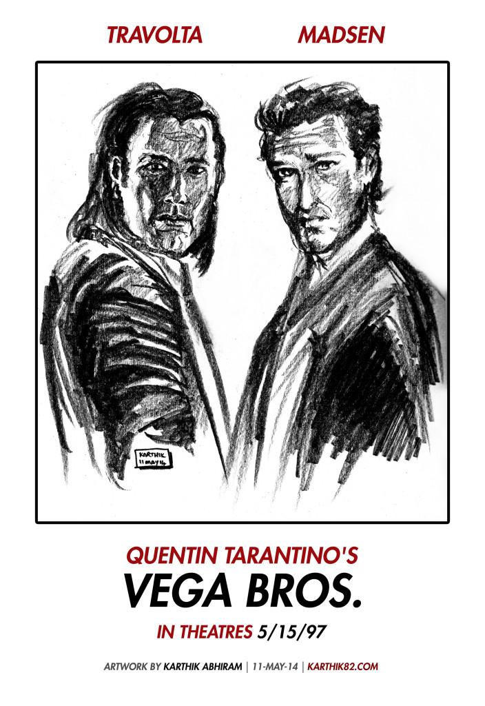 Quentin Tarantino's Vega Bros. Teaser Poster - Artwork by Karthik Abhiram