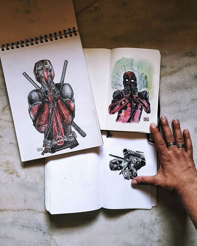 "#ThrowbackThursday Sharing a set of Deadpool drawings I did, the bottom one being a #DailyMovieSketch drawing. The others are from before I started this account. The one on the right is what I use as the Profile Photo here. Posting this because it's related to ""Logan"". There are no mid or post credit scenes because that would go against the serious tone of the movie. Instead, in the US, a teaser for ""Deadpool 2"" played before the movie. That teaser has made its way online in two versions. I'll probably do a drawing from it as well. #VSCOCam #Samsung #Galaxy #S7 #dual_composition #handsinframe"