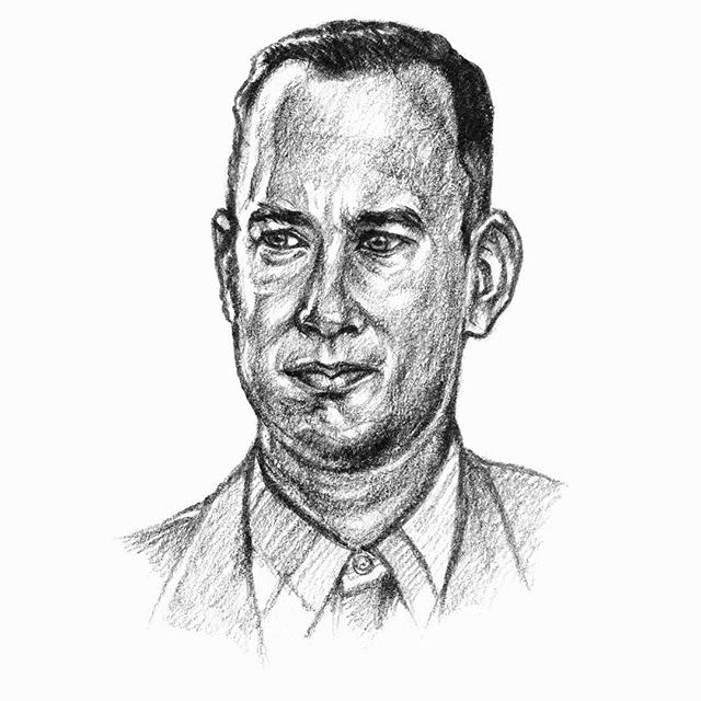 "Forrest Gump (1994)Directed by Robert ZemeckisI posted an @Instagram story asking for suggestions on future sketches. Thanks to everyone who took time to give their ideas! I got quite a few suggestions, but for today I decided to go with a sketch of Tom Hanks from ""Forrest Gump"". This one is courtesy @mrinalini_82 and @sampath_babu. I realized that I'd actually not drawn Tom Hanks before, so took up this suggestion. I have not seen the movie in a very long time though, I should re watch it. This movie won the Academy Award for Best Picture, beating ""Pulp Fiction"", which I actually like better than this. But this is still a wonderful movie, and Robert Zemeckis would go on to direct ""Cast Away"" some years later, which also featured an amazing performance by Tom Hanks. This is a scan of the pencil on paper sketch. #241 / 23-Mar-17"